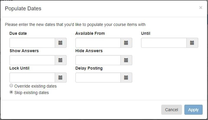 populate all dates in a course at once