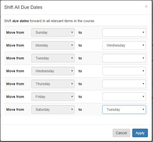 shift all due dates in bulk