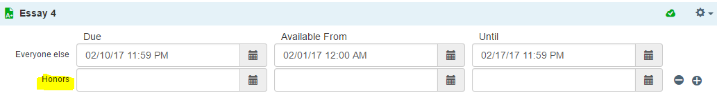 adding different dates to a section