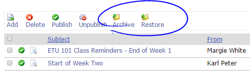 Archive and Restore Announcements