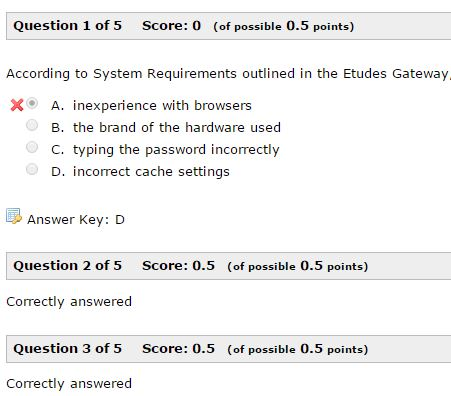 incorrect questions only with key and scores
