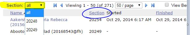 section filtering when grading