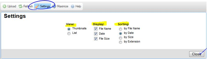 File Finder Display Settings