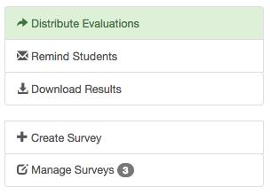 CourseEvalHQ menu for distributing evals