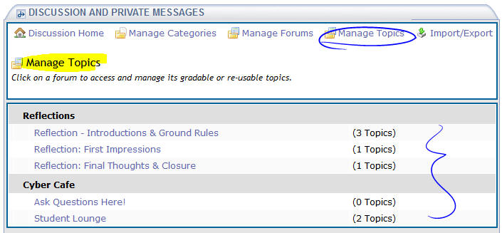 Manage Topics view
