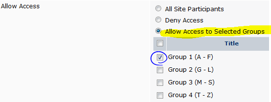 set access to groups