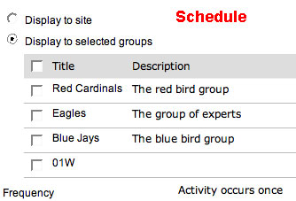 schedule - display groups