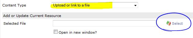 select upload or link to a file and then click on Select
