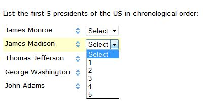 Order the first 5 US presidents
