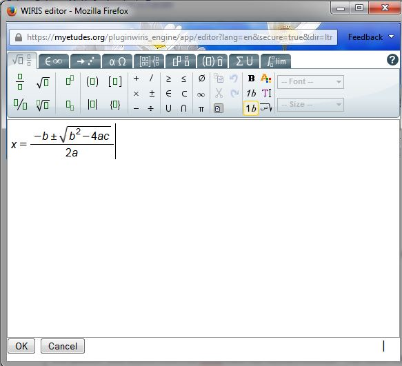 sample math notation in wiris